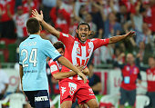 David Williams of the Heart celebrates after scoring a goal during the round 17 ALeague match between Melbourne Heart and Sydney FC at AAMI Park on...