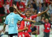 David Williams of the Heart celebrates after scoring the winning goal during the round 17 ALeague match between Melbourne Heart and Sydney FC at AAMI...