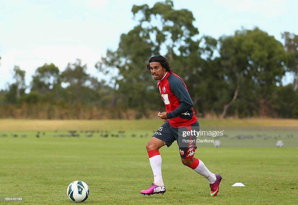David Williams of the Heart controls the ball during a Melbourne Heart A-League training session at La Trobe University Sports Fields on February 1, 2013 in Melbourne, Australia.