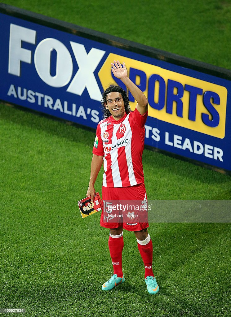 David Williams of the Heart smiles after the round six A-League match between the Melbourne Heart and the Brisbane Roar at AAMI Park on November 9, 2012 in Melbourne, Australia.