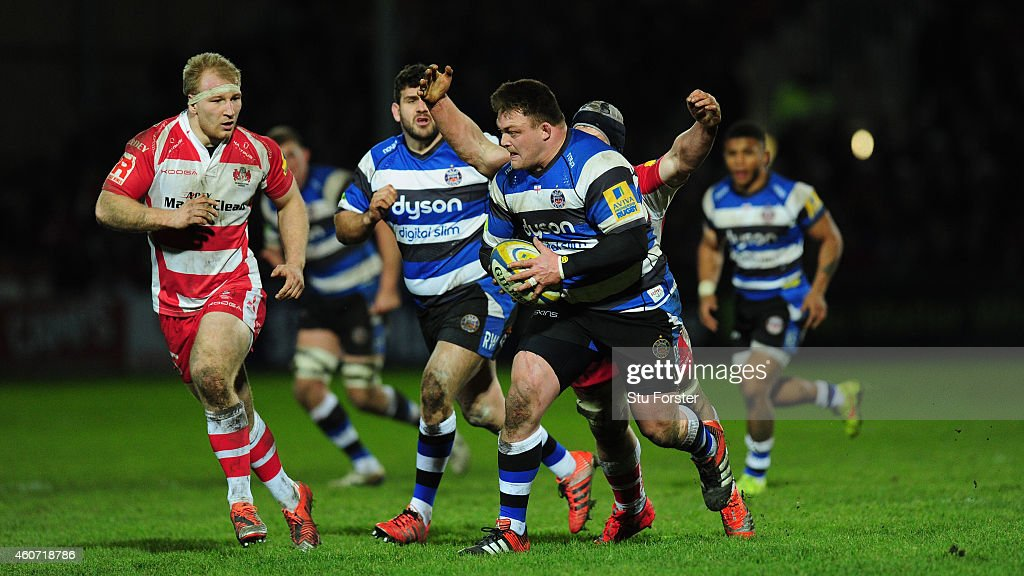 David Wilson of Bath makes a break during the Aviva Premiership match between Gloucester Rugby and Bath Rugby at Kingsholm Stadium on December 20...