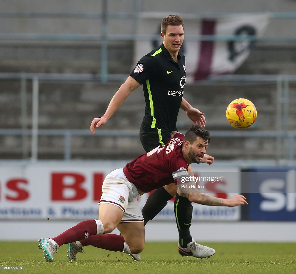 David Winfield of York City contests the ball with Marc Richards of Northampton Town during the Sky Bet League Two match between Northampton Town and York City at Sixfields Stadium on February 6, 2016 in Northampton, England.