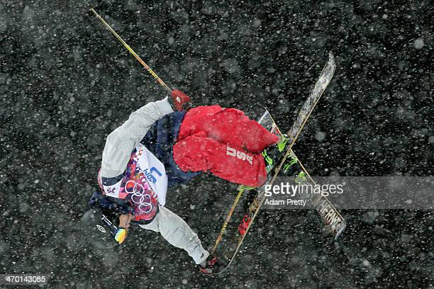 David Wise of the United States competes in the Freestyle Skiing Men's Ski Halfpipe Finals on day eleven of the 2014 2014 Winter Olympics at Rosa...