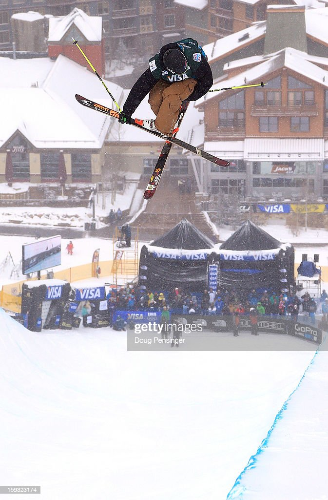 David Wise of the USA descends the pipe to third place in the FIS Freestyle Ski Half Pipe World Cup at the US Grand Prix on January 11, 2013 in Copper Mountain, Colorado.
