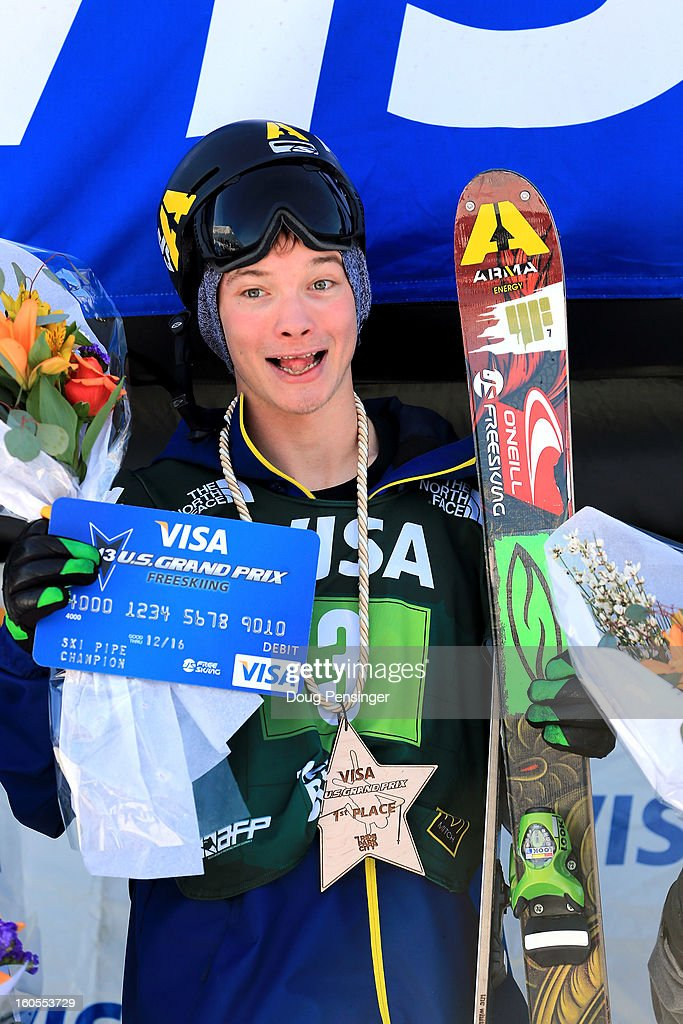 David Wise of the USA takes the podium after winning the men's FIS Freestyle Ski Halfpipe World Cup during the Sprint U.S. Grand Prix at Park City Mountain on February 2, 2013 in Park City, Utah.