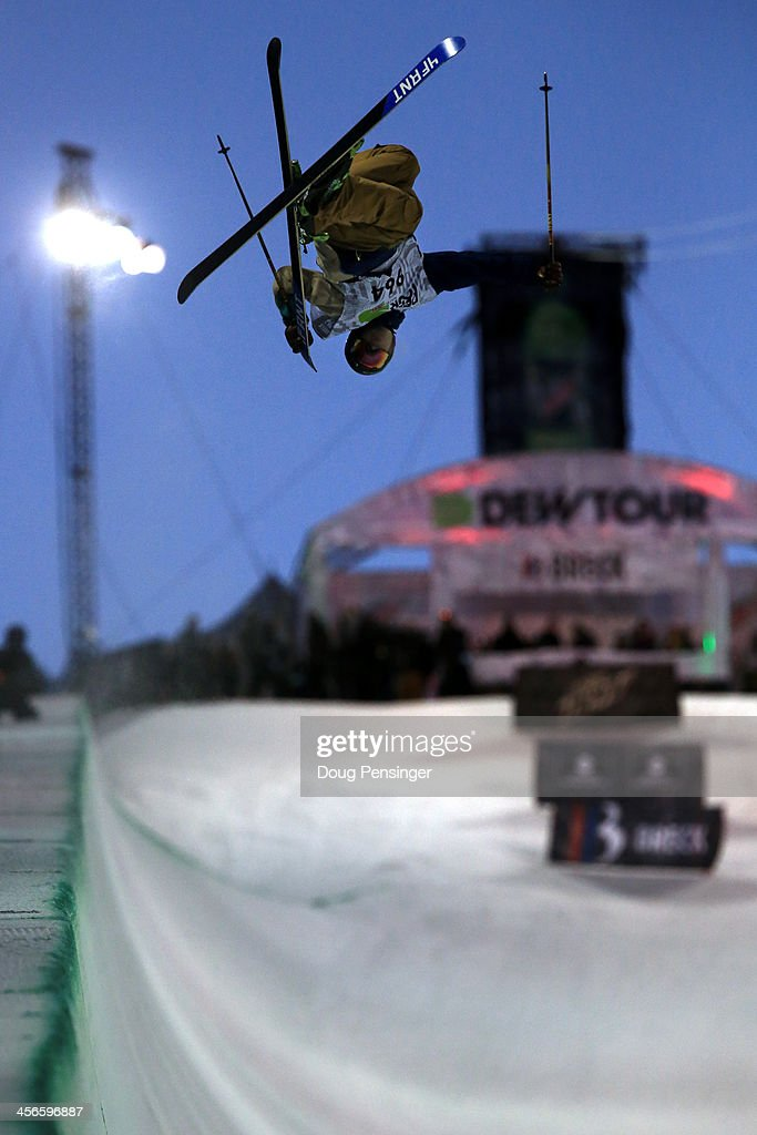 David Wise skis to first place in the men's ski superpipe final at the Dew Tour iON Mountain Championships on December 14, 2013 in Breckenridge, Colorado.