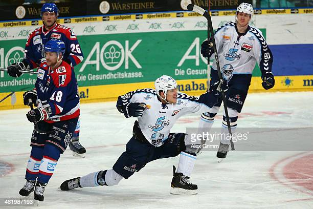 David Wolf of Hamburg celebrates his team's second goal during the DEL match between Adler Mannheim and Hamburg Freezers at SAP Arena on January 12...