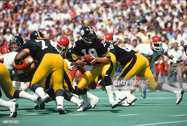David Woodley of the Pittsburgh Steelers in action against Kansas City Chiefs during an NFL football game September 2 1984 at Three Rivers Stadium in...