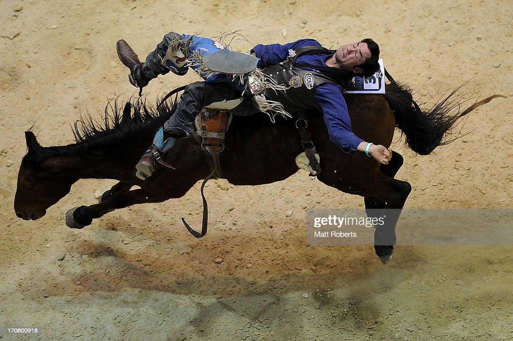 David Worsfold of Wandoan competes Bareback Bronc Riding during the National Rodeo Finals on June 15, 2013 on the Gold Coast, Australia.
