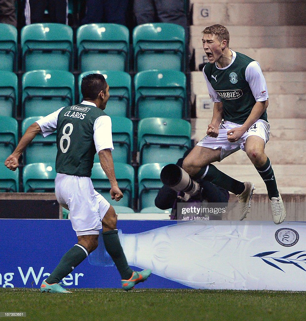 David Wotherspoon of Hibernian celebrates after scoring during the Scottish Cup match between Hibernian and Hearts at Easter Road Stadium on December 2, 2012 in Edinburgh,Scotland.
