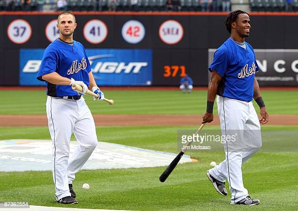 David Wright and Jose Reyes of the New York Mets look on during batting practice prior to playing the Atlanta Braves on May 12 2009 at Citi Field in...