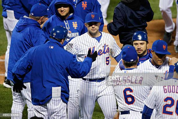 David Wright and the New York Mets celebrate after defeating the Kansas City Royals by a score of 93 to win Game Three of the 2015 World Series at...