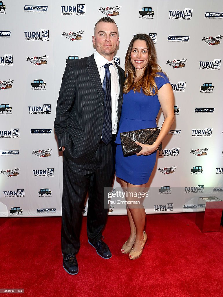 David Wright (L) and wife Molly Beers attend the Derek Jeter 18th Annual Turn 2 Foundation dinner at Sheraton New York Times Square on June 1, 2014 in New York City.