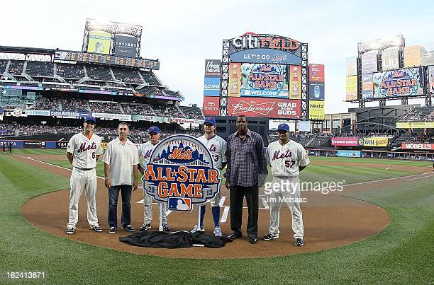 David Wright John Franco manager Terry Collins RA Dickey Dwight Gooden and Johan Santana of the New York Mets pose with the newly unveiled 2013 MLB...