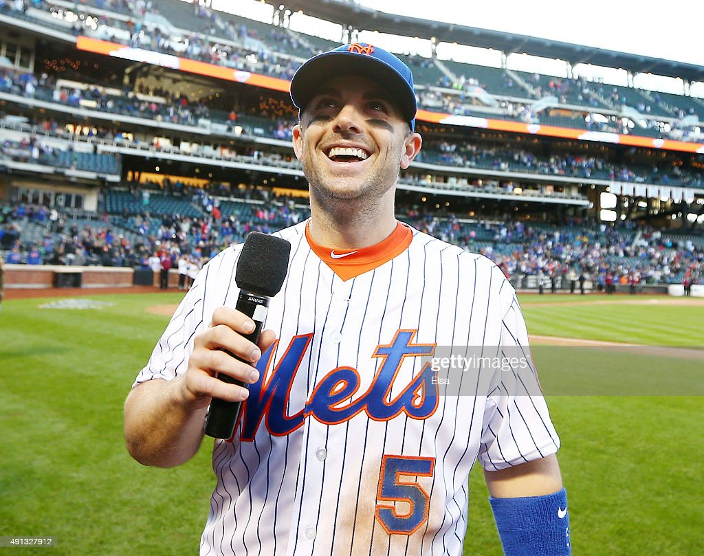 David Wright #5 of the New York Mets addresses the fans after the final regular season game on October 4, 2015 at Citi Field in the Flushing neighborhood of the Queens borough of New York City.The New York Mets defeated the Washington Nationals 1-0.