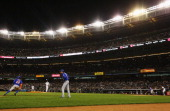 David Wright of the New York Mets drives in Eric Young Jr #22 against Alfredo Aceves of the New York Yankees in the fourth inning during their game...