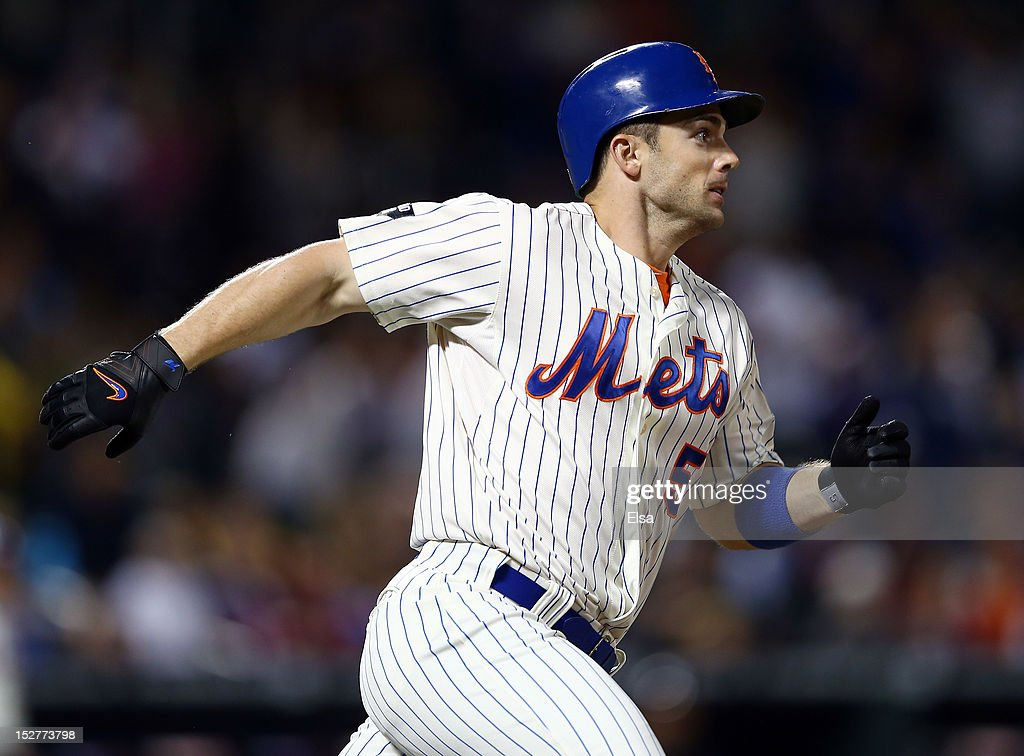 <a gi-track='captionPersonalityLinkClicked' href=/galleries/search?phrase=David+Wright+-+Baseball+Player&family=editorial&specificpeople=209172 ng-click='$event.stopPropagation()'>David Wright</a> #5 of the New York Mets heads for first after he hit a 2 RBI single to get his 1,418th career hit in the seventh inning against the Pittsburgh Pirates on September 25, 2012 at Citi Field in the Flushing neighborhood of the Queens borough of New York City.