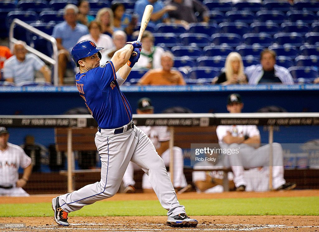 <a gi-track='captionPersonalityLinkClicked' href=/galleries/search?phrase=David+Wright+-+Baseball+Player&family=editorial&specificpeople=209172 ng-click='$event.stopPropagation()'>David Wright</a> #5 of the New York Mets hits a double during the second inning of the game against the Miami Marlins at Marlins Park on September 2, 2014 in Miami, Florida.