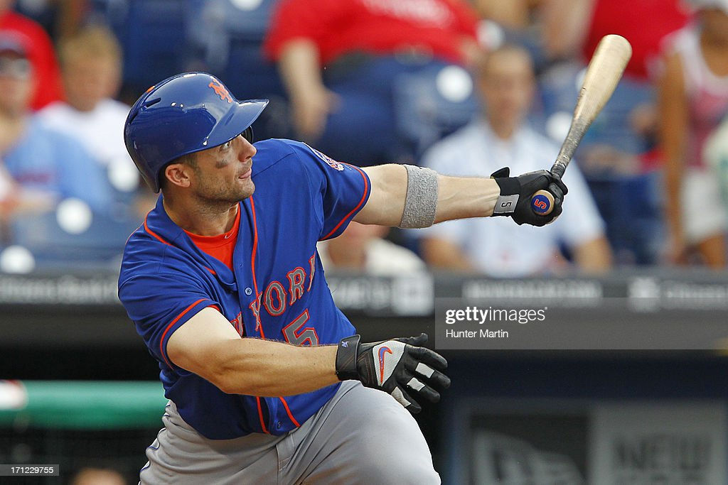 <a gi-track='captionPersonalityLinkClicked' href=/galleries/search?phrase=David+Wright+-+Baseball+Player&family=editorial&specificpeople=209172 ng-click='$event.stopPropagation()'>David Wright</a> #5 of the New York Mets hits a solo home run in the ninth inning during a game against the Philadelphia Phillies at Citizens Bank Park on June 23, 2013 in Philadelphia, Pennsylvania. The Mets won 8-0.