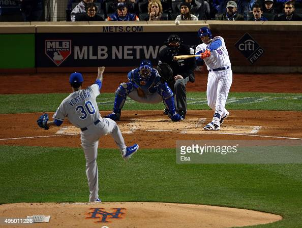 David Wright of the New York Mets hits a two run home run against Yordano Ventura of the Kansas City Royals in the first inning during Game Three of...
