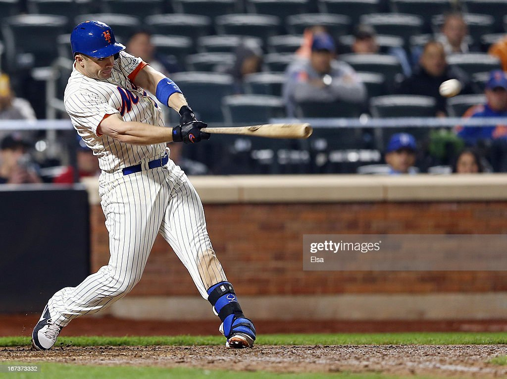 <a gi-track='captionPersonalityLinkClicked' href=/galleries/search?phrase=David+Wright+-+Baseball+Player&family=editorial&specificpeople=209172 ng-click='$event.stopPropagation()'>David Wright</a> #5 of the New York Mets hits an RBI single in the bottom of the ninth to tie the game on April 24, 2013 at Citi Field in the Flushing neighborhood of the Queens borough of New York City. The New York Mets defeated the Los Angeles Dodgers 7-3 in 10 innings.