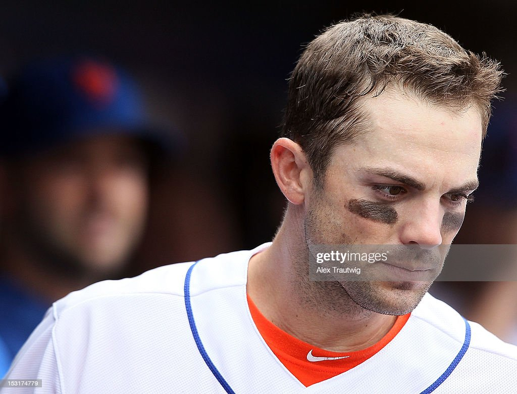 <a gi-track='captionPersonalityLinkClicked' href=/galleries/search?phrase=David+Wright+-+Baseball+Player&family=editorial&specificpeople=209172 ng-click='$event.stopPropagation()'>David Wright</a> #5 of the New York Mets in the dugout during a game against the Pittsburgh Pirates at Citi Field on September 27, 2012 in the Flushing neighborhood of the Queens borough of New York City.