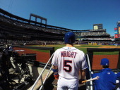 David Wright of the New York Mets looks on before his at bayt against the Cincinnati Reds during their game on April 6 2013 at Citi Field in the...