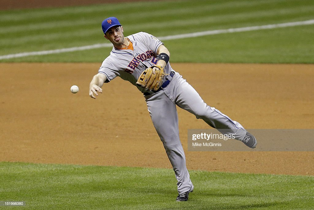 <a gi-track='captionPersonalityLinkClicked' href=/galleries/search?phrase=David+Wright+-+Baseball+Player&family=editorial&specificpeople=209172 ng-click='$event.stopPropagation()'>David Wright</a> #5 of the New York Mets makes the throw to first base for an out in the bottom of the fourth inning against the Milwaukee Brewers at Miller Park on September 14, 2012 in Milwaukee, Wisconsin.
