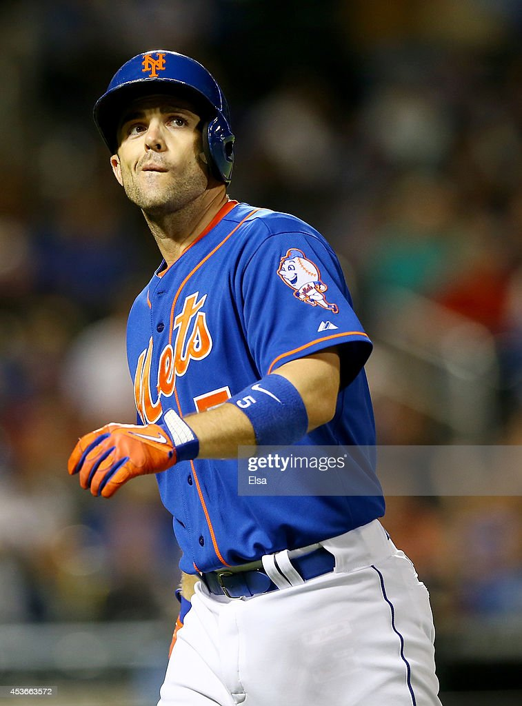 <a gi-track='captionPersonalityLinkClicked' href=/galleries/search?phrase=David+Wright+-+Baseball+Player&family=editorial&specificpeople=209172 ng-click='$event.stopPropagation()'>David Wright</a> #5 of the New York Mets reacts after he hit a pop fly for an out in the fifth inning against the Chicago Cubs on August 15, 2014 at Citi Field in the Flushing neighborhood of the Queens borough of New York City.