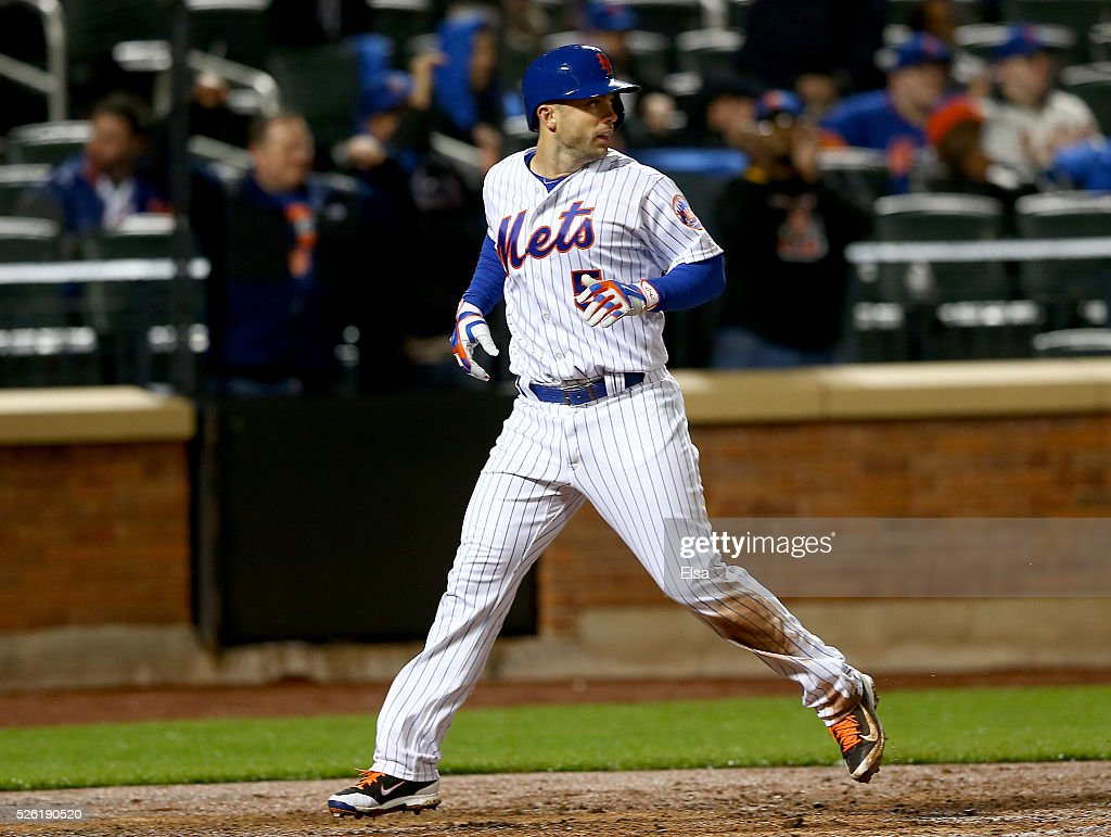 <a gi-track='captionPersonalityLinkClicked' href=/galleries/search?phrase=David+Wright+-+Baseball+Player&family=editorial&specificpeople=209172 ng-click='$event.stopPropagation()'>David Wright</a> #5 of the New York Mets reacts after he scored in the third inning against the San Francisco Giants at Citi Field on April 29, 2016 in the Flushing neighborhood of the Queens borough of New York City.
