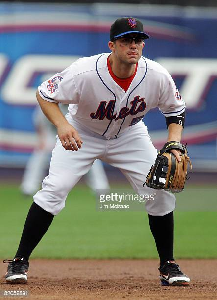 David Wright of the New York Mets readies himself for a pitch against the Philadelphia Phillies on July 24 2008 at Shea Stadium in the Flushing...