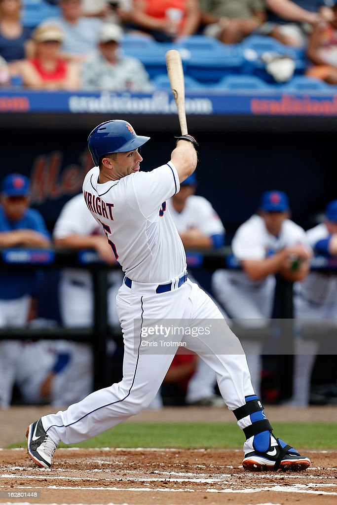 <a gi-track='captionPersonalityLinkClicked' href=/galleries/search?phrase=David+Wright+-+Baseball+Player&family=editorial&specificpeople=209172 ng-click='$event.stopPropagation()'>David Wright</a> #5 of the New York Mets swings against the St. Louis Cardinals at Tradition Field on February 27, 2013 in Port St. Lucie, Florida.