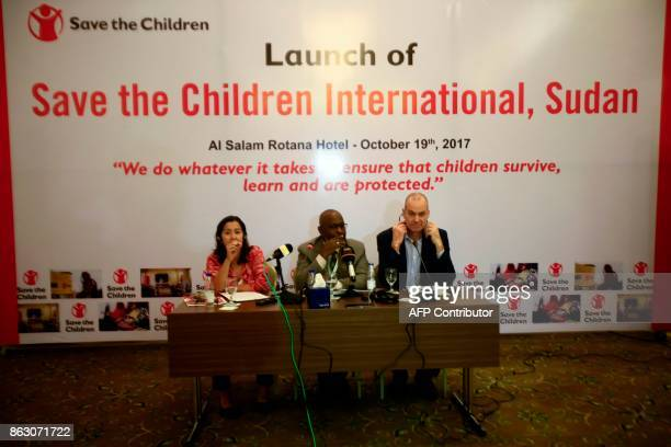 David Wright Save The Children's regional director for eastern and southern Africa speaks during a press conference in the Sudanese capital Khartoum...