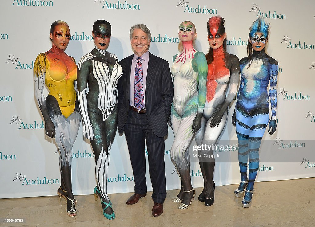 David Yarnold (C) poses with National Audubon Society mascots at the 2013 National Audubon Society Gala Dinner on January 17, 2013 in New York, United States.