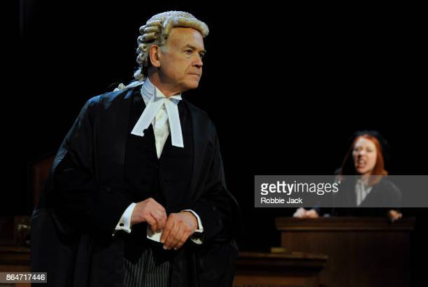 David Yelland as Sir Wilfrid Robarts and Catherine Steadman as Romaine in a production of Agatha Christie's Witness for the Prosecution directed by...