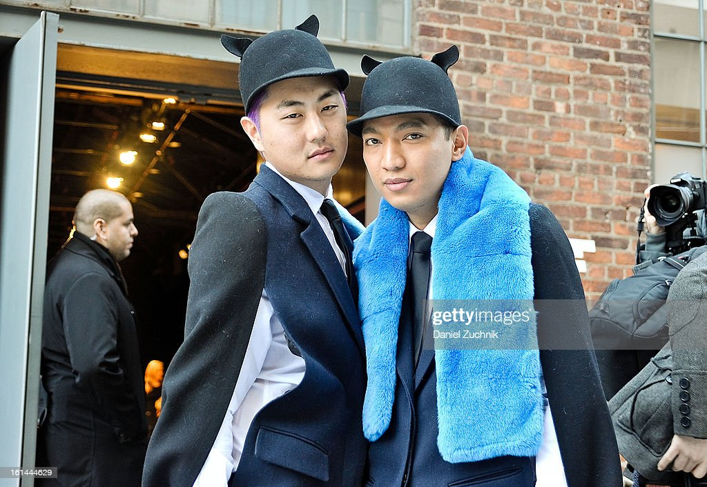 David Yi and Bryan Boy seen outside the DKNY show on February 10, 2013 in New York City.