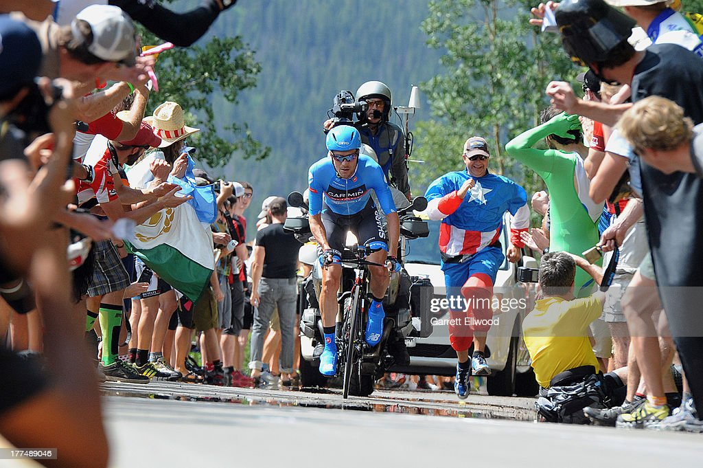 <a gi-track='captionPersonalityLinkClicked' href=/galleries/search?phrase=David+Zabriskie&family=editorial&specificpeople=560617 ng-click='$event.stopPropagation()'>David Zabriskie</a> #8 of the United States riding for Team Garmin-Sharp climbs the last kilometer of Stage Five of the USA Pro Cycling Challenge on August 23, 2013 in Vail, Colorado. Copyright 2013