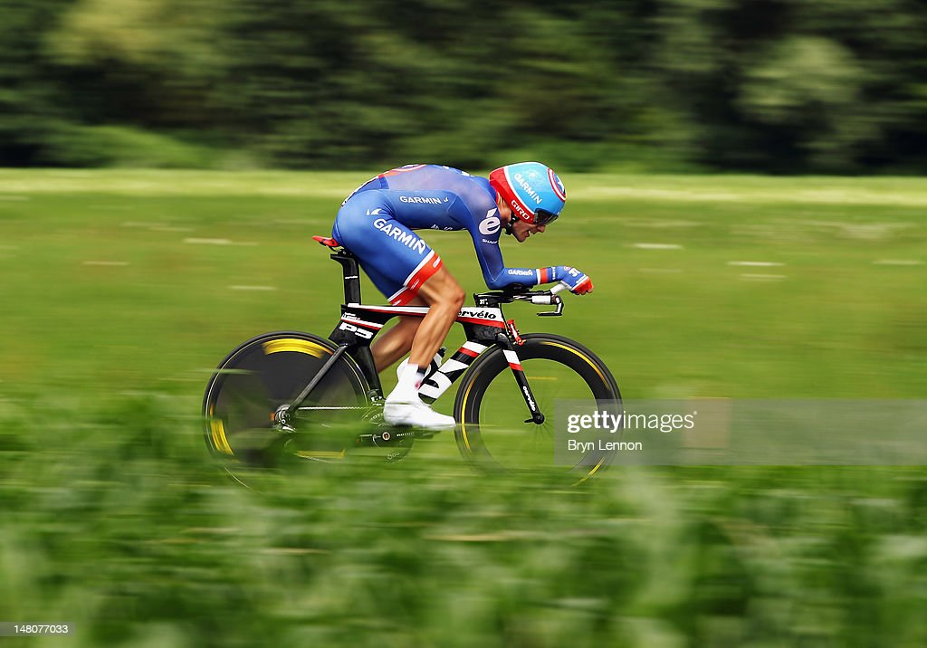 David Zabriskie of the USA and Garmin-Sharp in action during stage nine of the 2012 Tour de France, a 41.5km individual time trial, from Arc-et-Senans to Besancon on July 9, 2012 in Besancon, France.