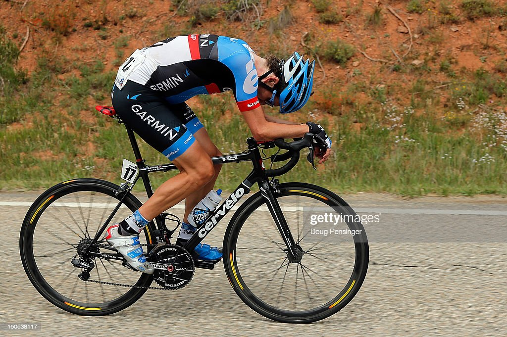 <a gi-track='captionPersonalityLinkClicked' href=/galleries/search?phrase=David+Zabriskie&family=editorial&specificpeople=560617 ng-click='$event.stopPropagation()'>David Zabriskie</a> of the USA riding for Garmin-Sharp gives it his all as he rides at the front of the breakaway during stage one of the USA Pro Challenge from Durango to Telluride on August 20, 2012 in Dolores County, Colorado.