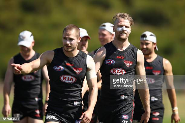 David Zaharakis and Jake Stringer of the Bombers talk during an Essendon Bombers Media Announcement Training Session at Essendon Football Club on...