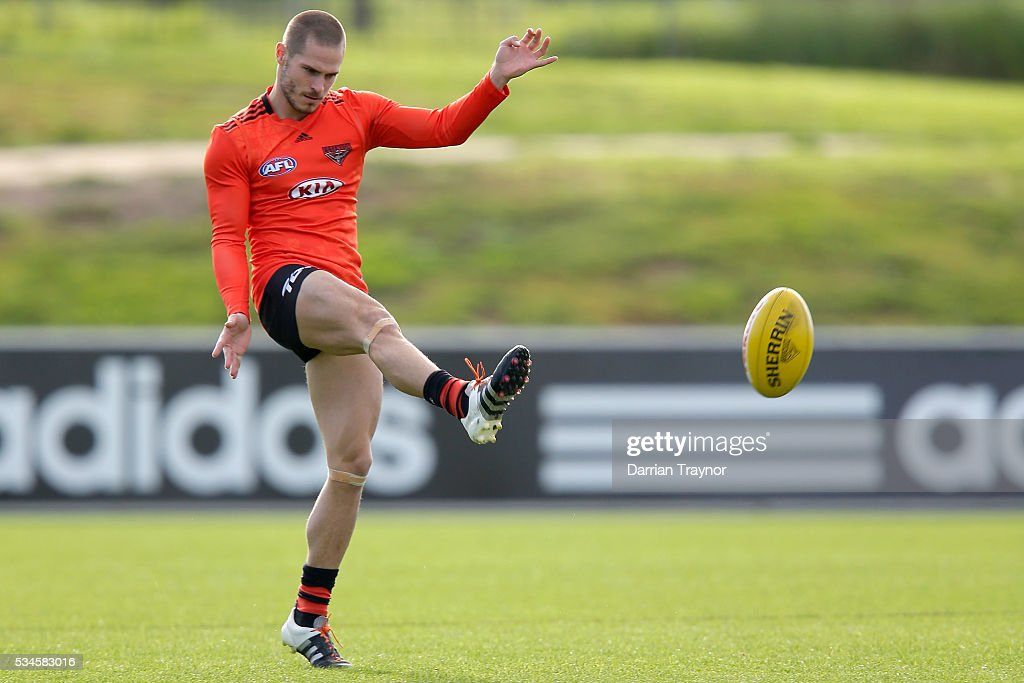 <a gi-track='captionPersonalityLinkClicked' href=/galleries/search?phrase=David+Zaharakis&family=editorial&specificpeople=5629221 ng-click='$event.stopPropagation()'>David Zaharakis</a> kicks the ball during an Essendon Bombers AFL training session at True Value Solar Centre on May 27, 2016 in Melbourne, Australia.