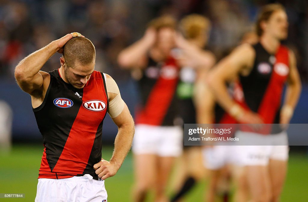 David Zaharakis of the Bombers looks dejected after a loss during the 2016 AFL Round 06 match between the Carlton Blues and the Essendon Bombers at the Melbourne Cricket Ground, Melbourne on May 1, 2016.