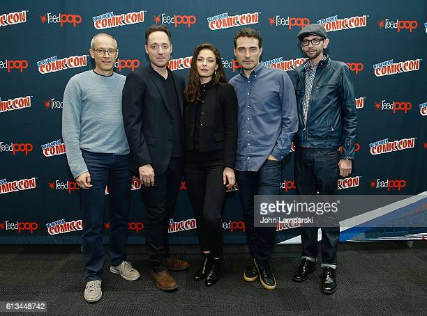 David Zucker Brennan Brown Alexa Davalos Rufus Sewell and DJ Qualls attend Amazon's production of 'The Man In The High Castle' during the 2016 New...