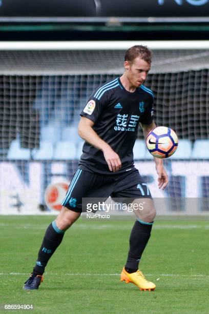 David Zurutuza midfielder of Real Sociedad de Futbol controls the ball during the La Liga Santander match between Celta de Vigo and Real Sociedad de...