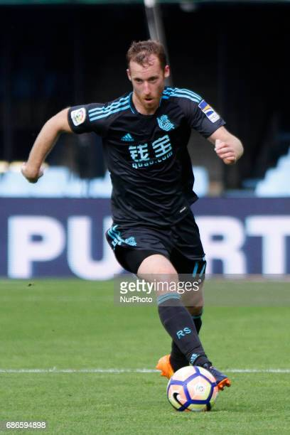 David Zurutuza midfielder of Real Sociedad de Futbol drives the ball during the La Liga Santander match between Celta de Vigo and Real Sociedad de...