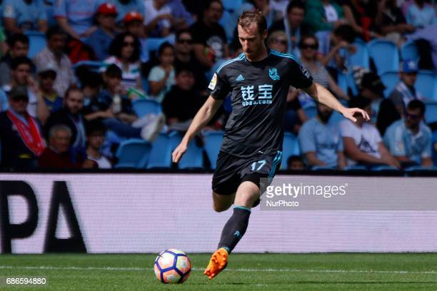 David Zurutuza midfielder of Real Sociedad de Futbol takes a shot during the La Liga Santander match between Celta de Vigo and Real Sociedad de...