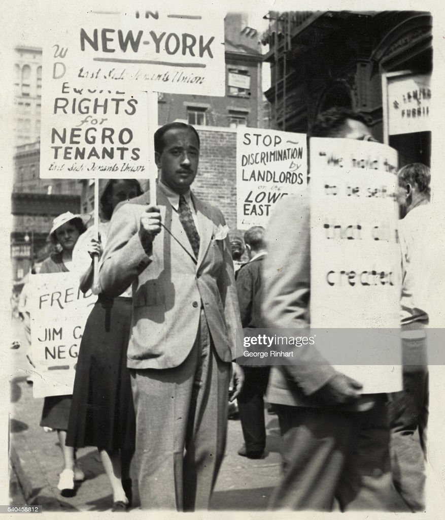 David Zwerdling American Labor Party candidate for Assembly in the 4th AD Manhattan is shown leading the picket line called by the East Side Tenants...