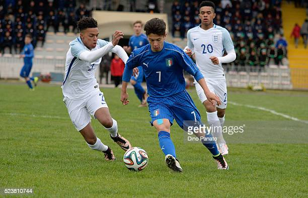 Davide Angelo Ghislandi of Italy U15 competes with Crowe Dylan of England U15 during the U15 International Tournament match between Italy and England...