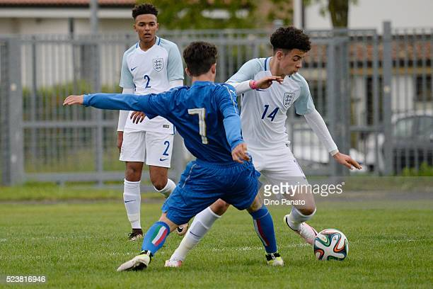 Davide Angelo Ghislandi of Italy U15 competes with Jones Curtis of England U15 during the U15 International Tournament match between Italy and...