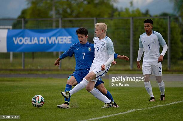 Davide Angelo Ghislandi of Italy U15 competes with Longstaff Luis of England U15 during the U15 International Tournament match between Italy and...